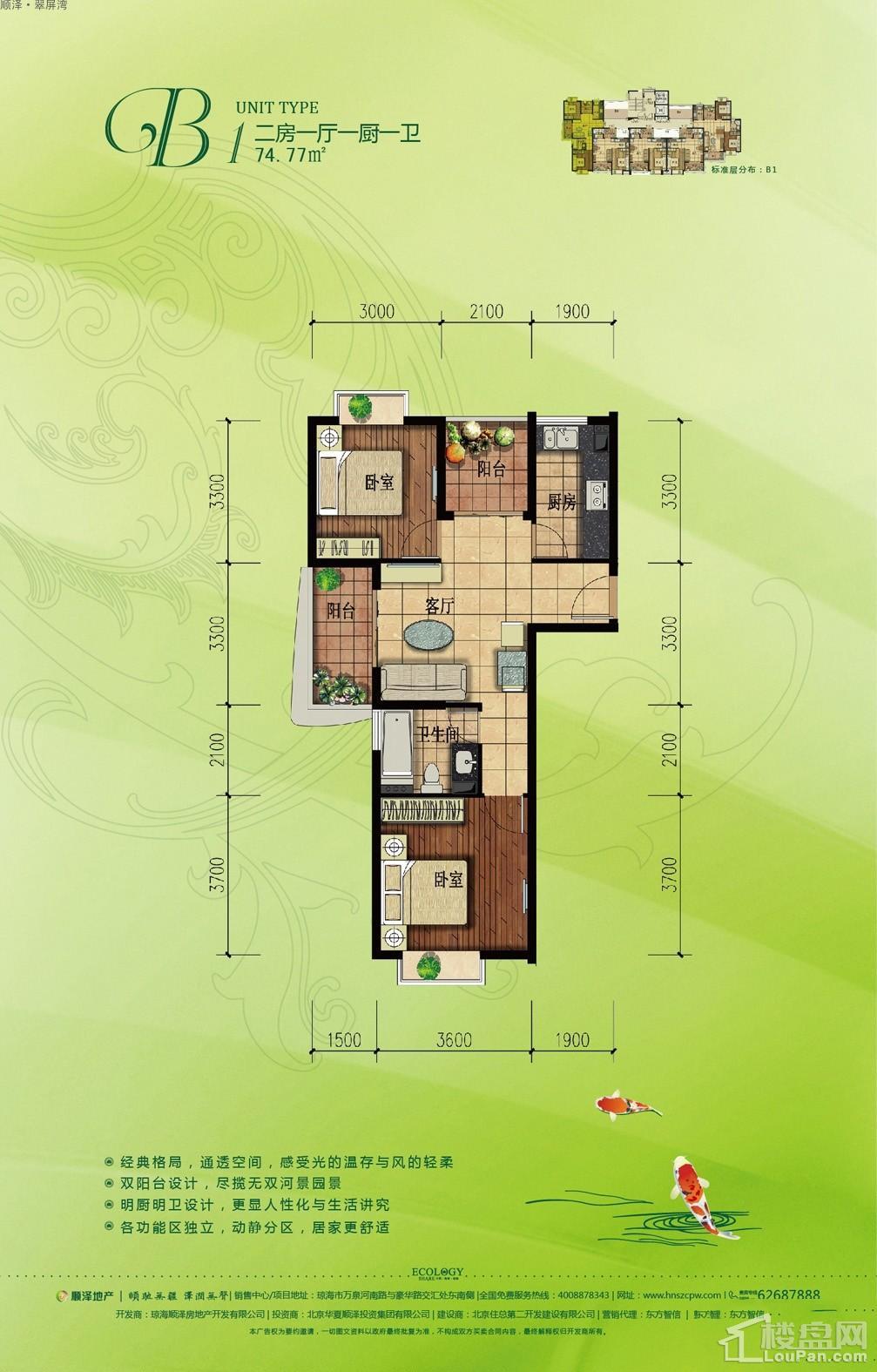 顺泽·翠屏湾二期B1户型图