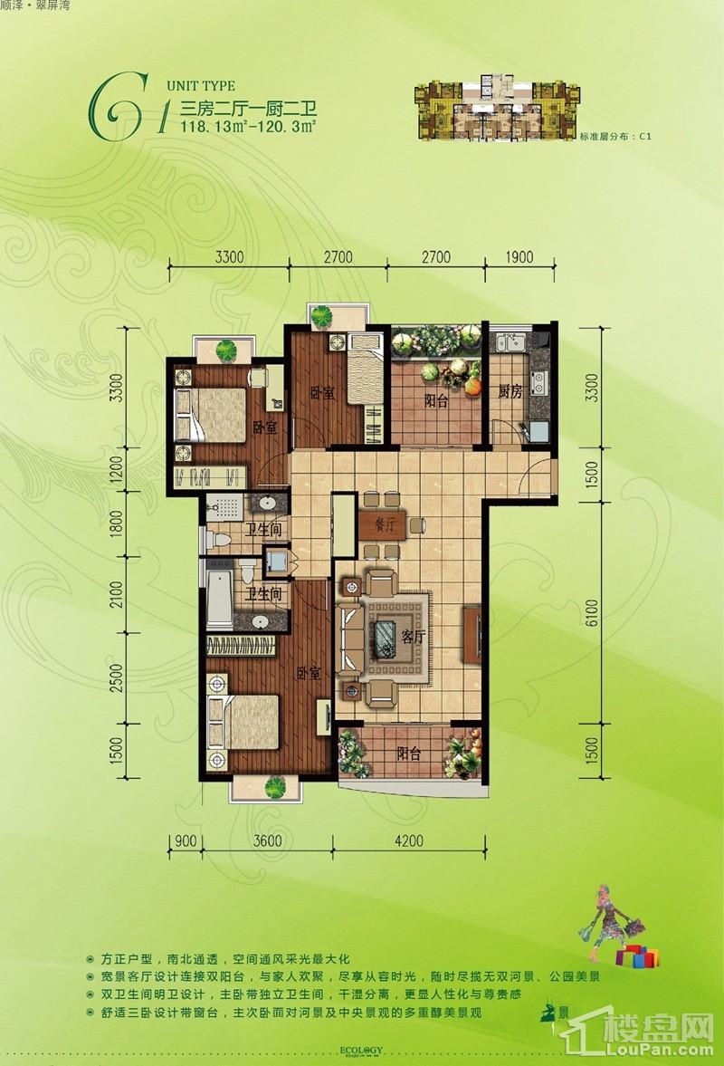 顺泽·翠屏湾二期C1户型图