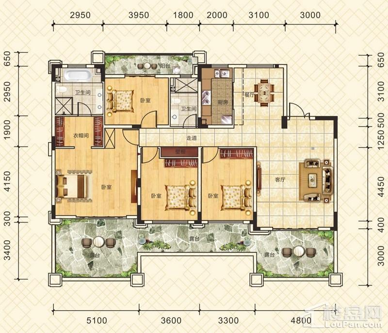 三层平层情景洋房1单元301