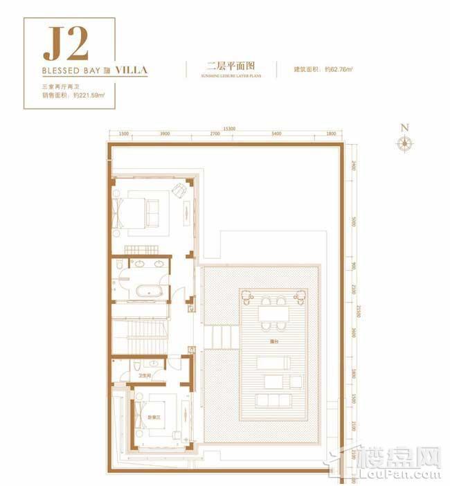 葛洲坝·海棠福one别墅J2户型(二层)