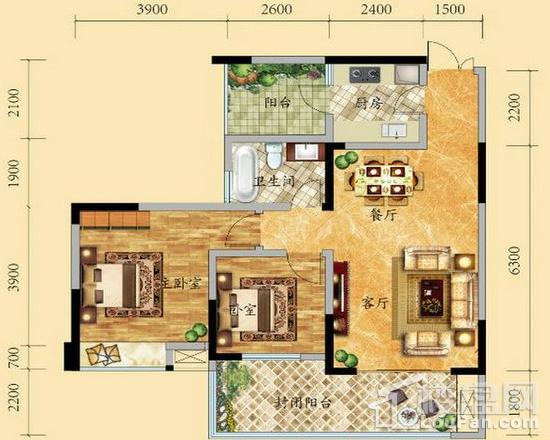 高层6/9号楼1-17层2号房户型