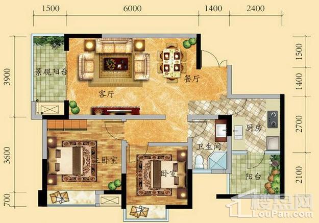 高层6/9号楼1-17层3号房户型