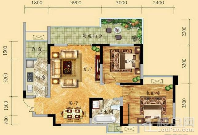 高层6/9号楼2-17层6号房户型