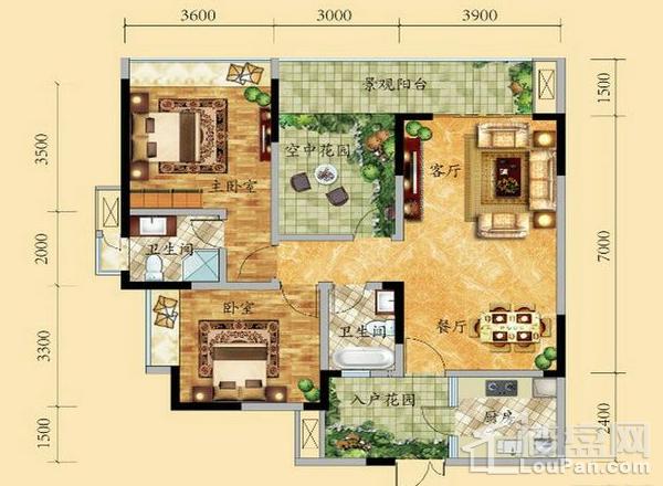 高层6/9号楼1-18层4号房户型