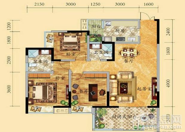 高层7号楼2-15层1/2号房户型