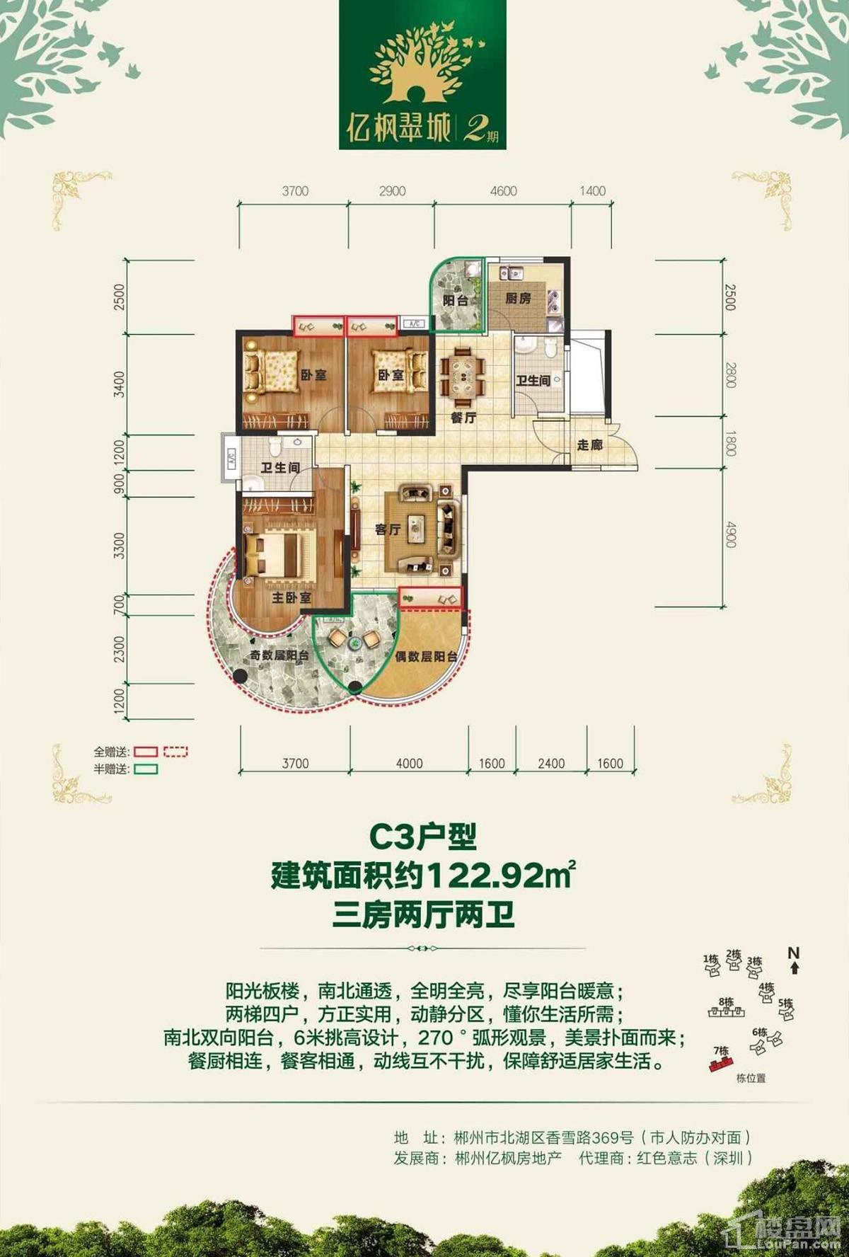 亿枫翠城7栋C3户型