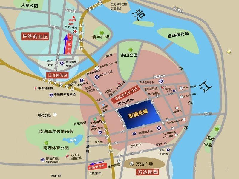 三汇玫瑰花城商铺位置图