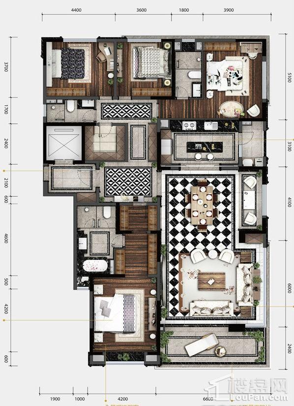 1期12#/13#楼标准层230户型