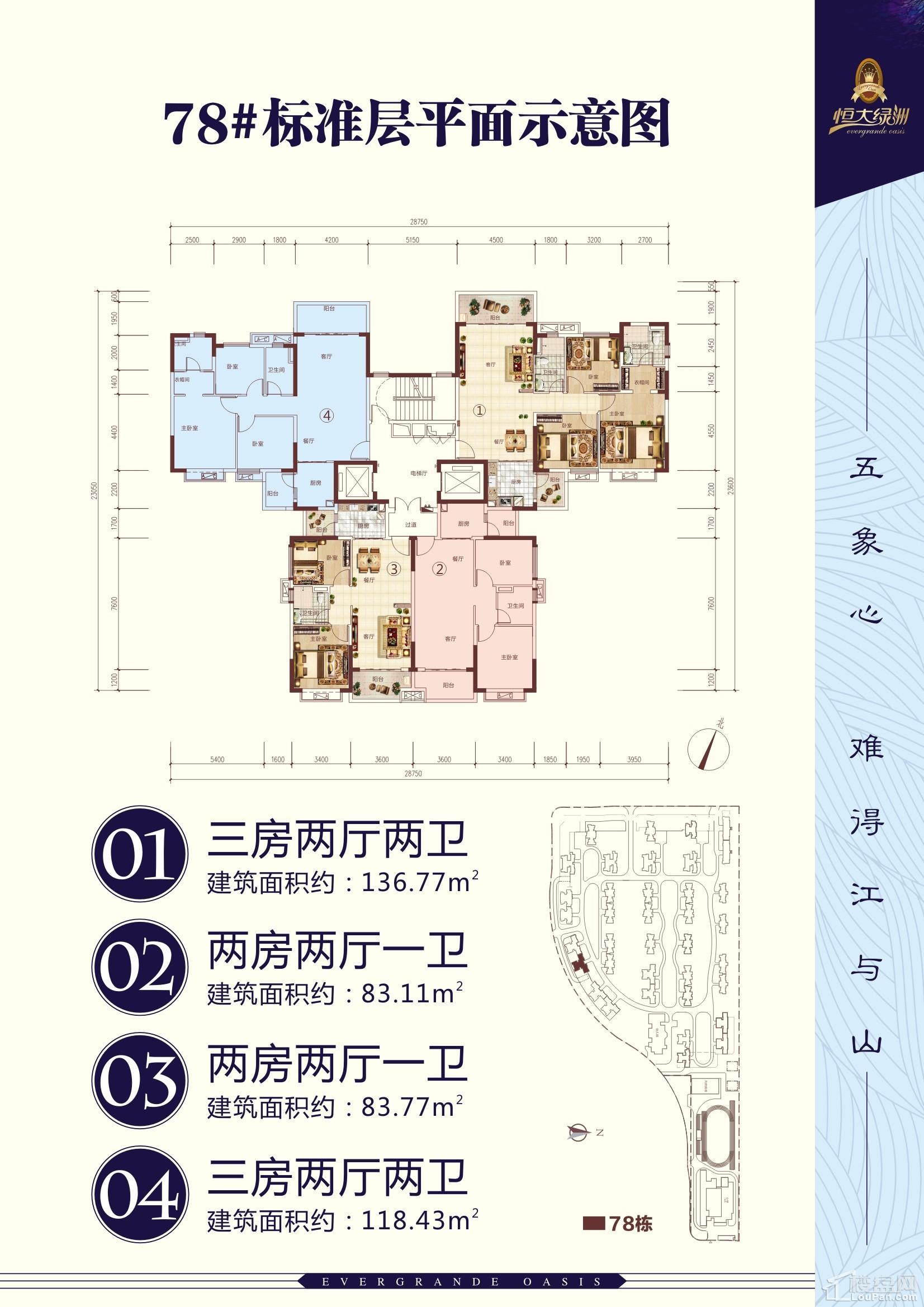 南宁恒大绿洲78#楼平面图