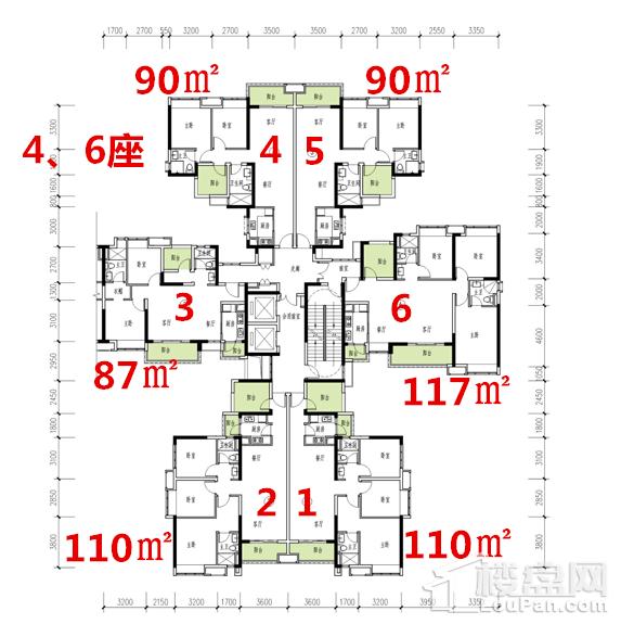 4、6座户型图