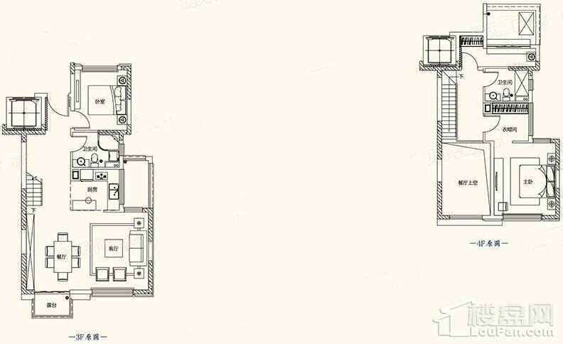 D2户型图 - 叠墅124平