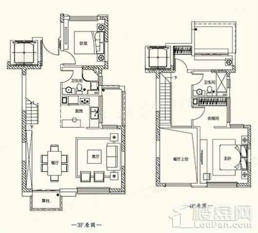 C2户型图 - 叠墅134平