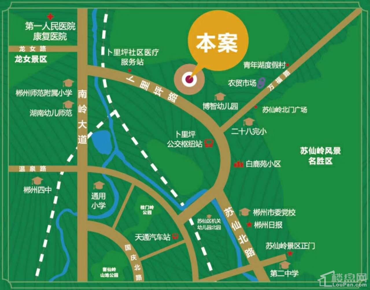 福泽山庄区位交通图