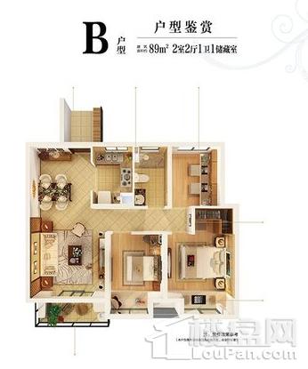 高层89平标准层B户型