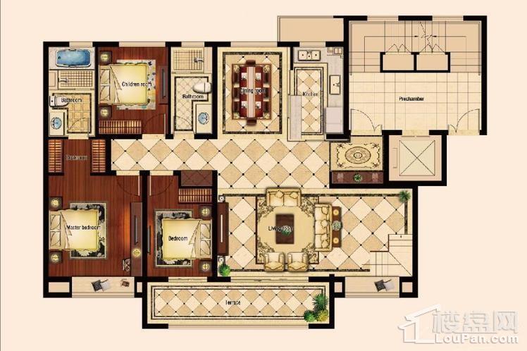一期高层28、29、35#D2顶层复式户型