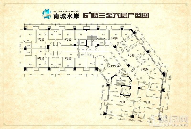 南城水岸6#楼三至六层平面图