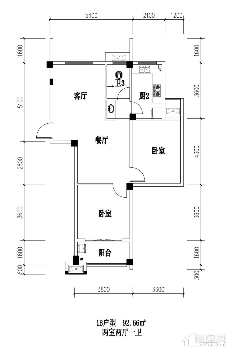 江南名苑1户B型图