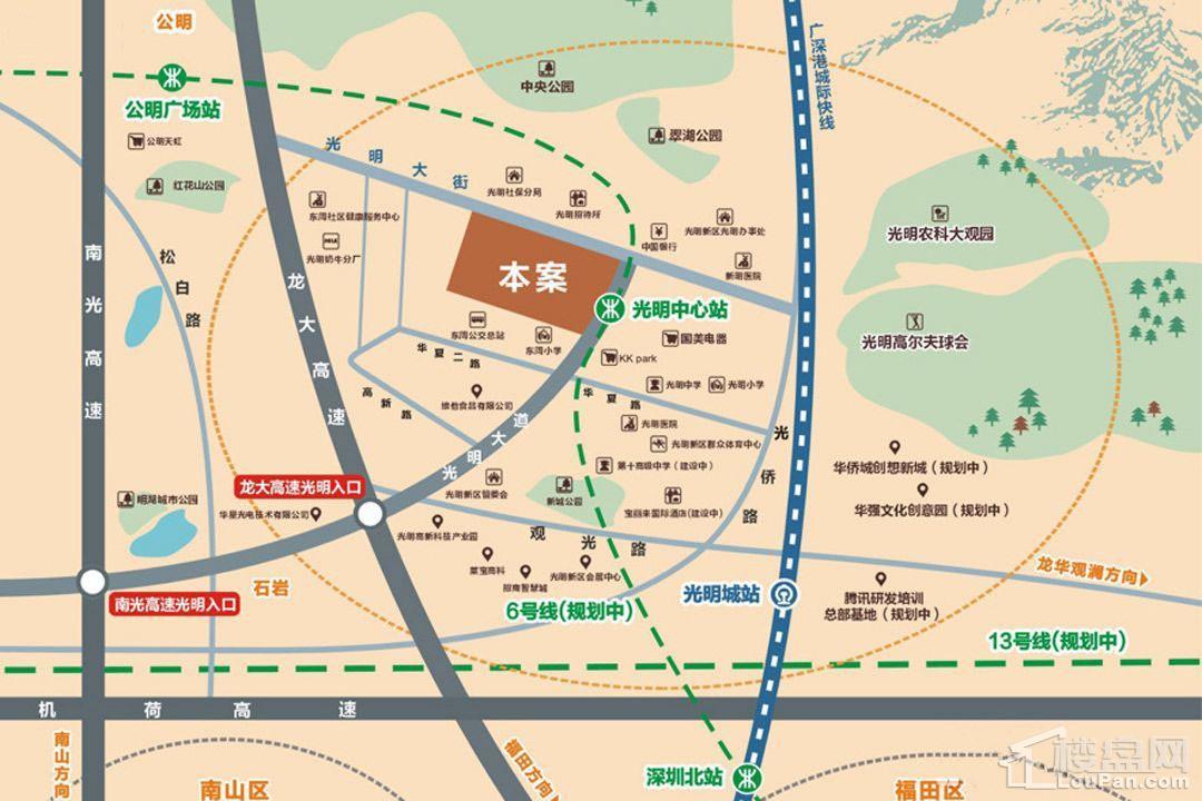光明中心城位置图
