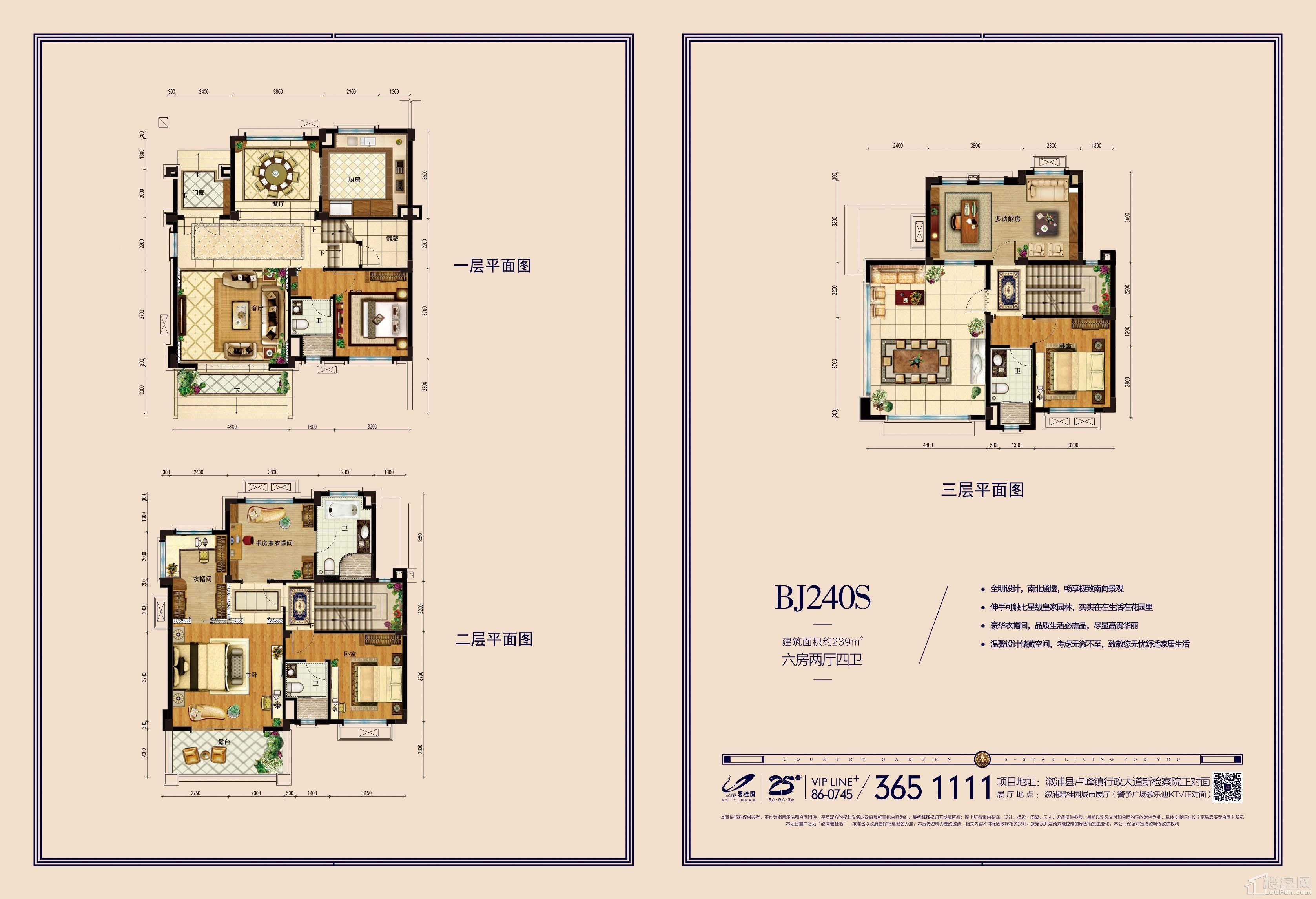 溆浦碧桂园别墅BJ240高清户型图