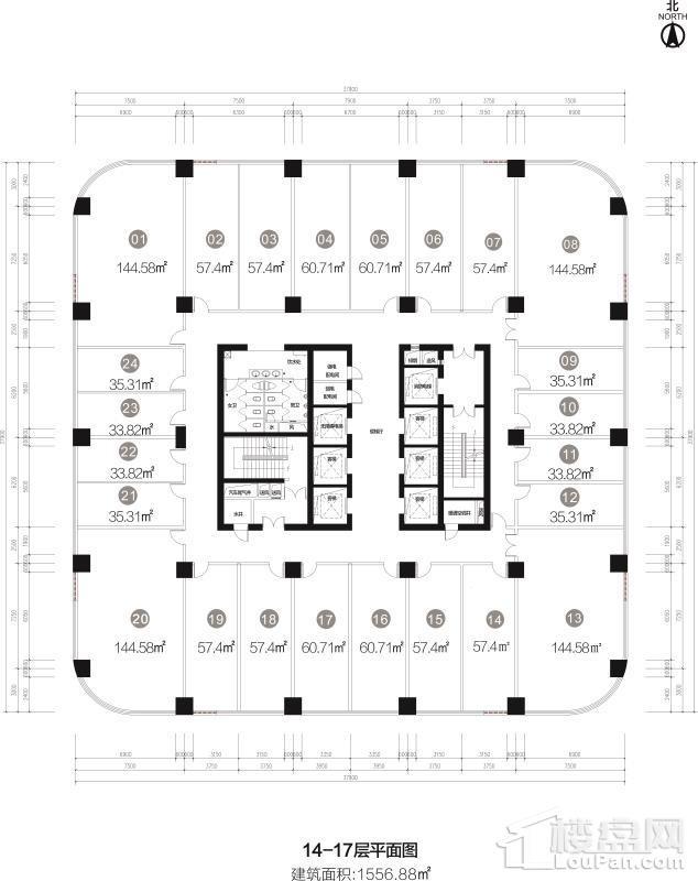 14-17层平面图