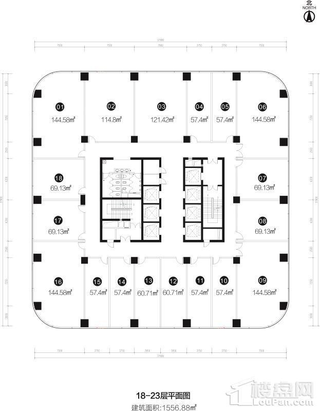 18-23层平面图