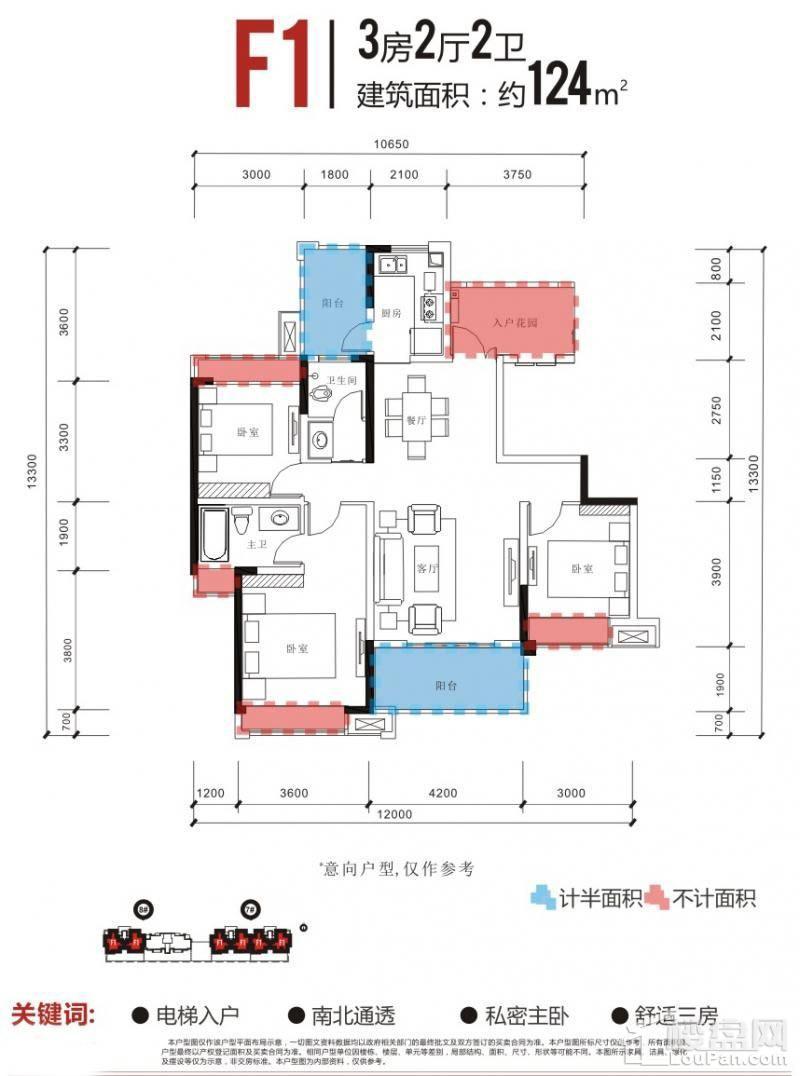 长虹国际城四期F1户型图