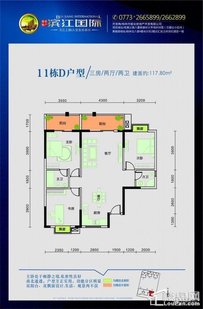 滨江国际桂林日报社小区 -11#D户型