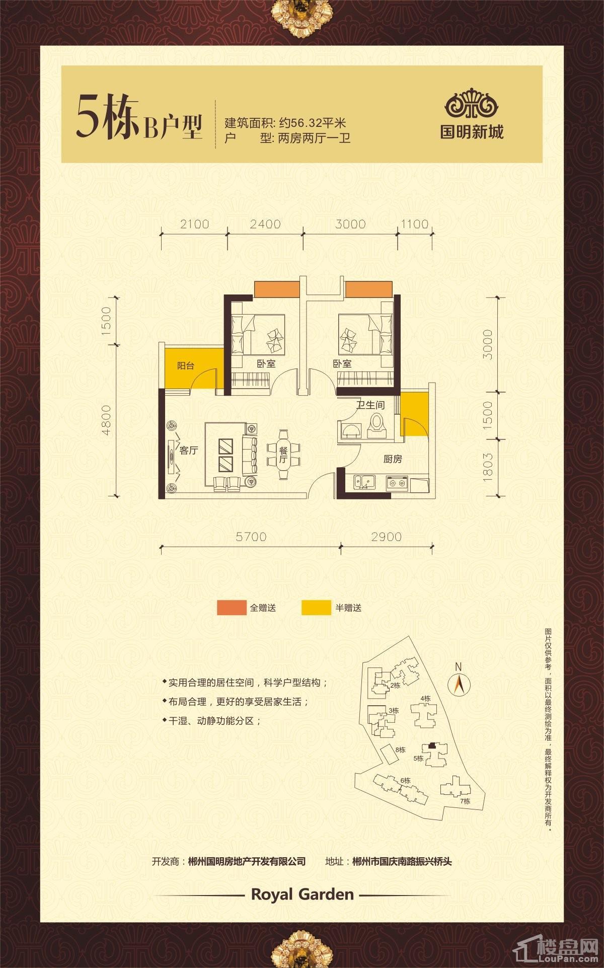 国明新城5栋B户型