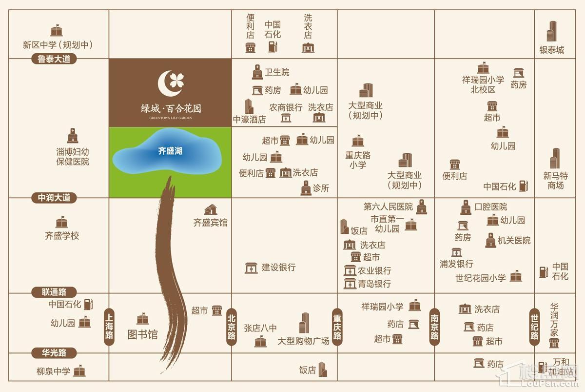 淄博绿城·百合花园蘭园位置图