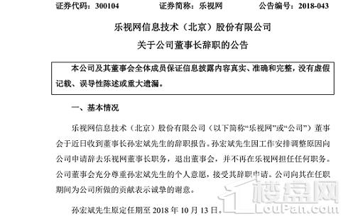 孙宏斌因工作调整辞去乐视网董事长一职