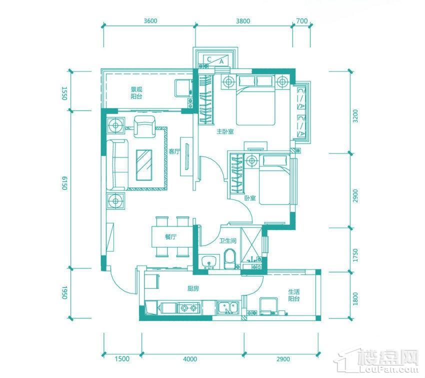 高层97/98#2号房户型