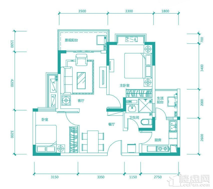高层97/98#7号房户型