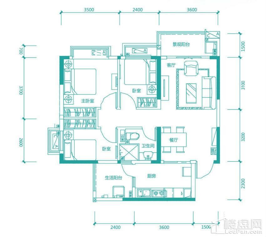 高层97/98#3号房户型