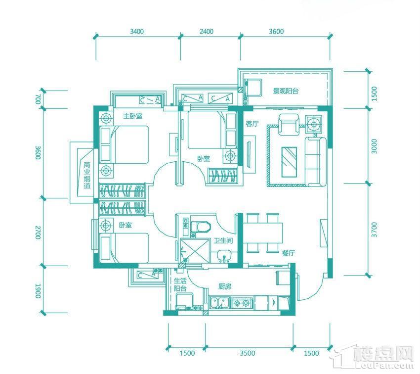 高层97/98#6号房户型