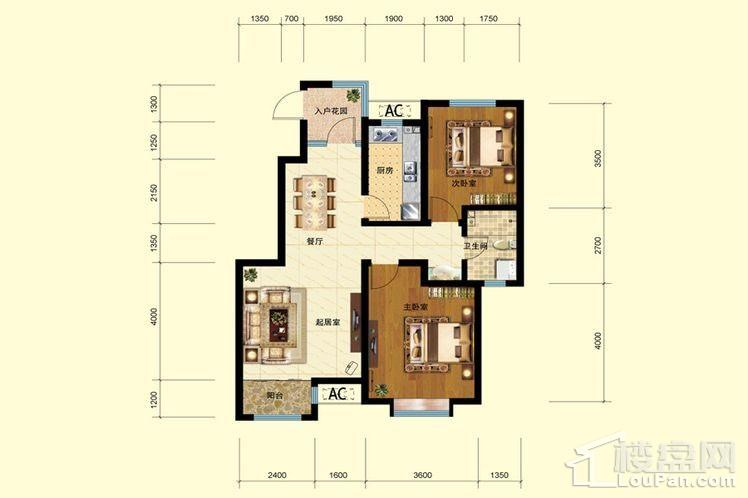 二期洋房1号楼标准层A'户型
