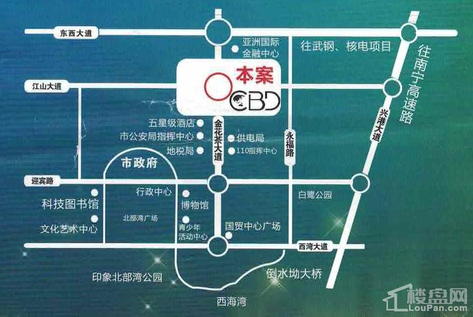 防城港中央商务区CBD位置图