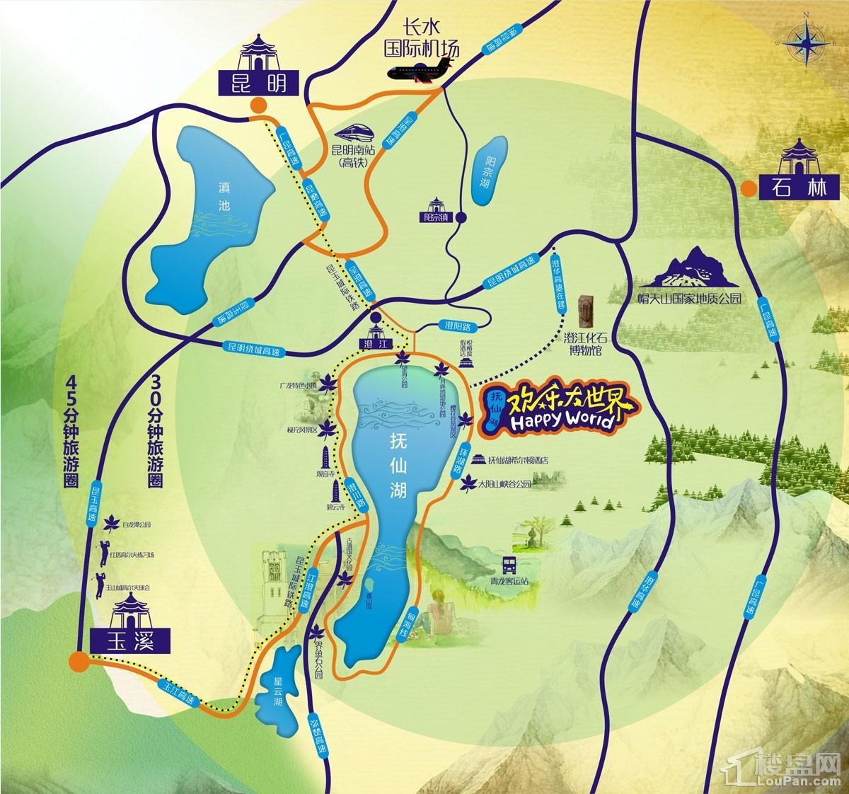 抚仙湖欢乐大世界位置图