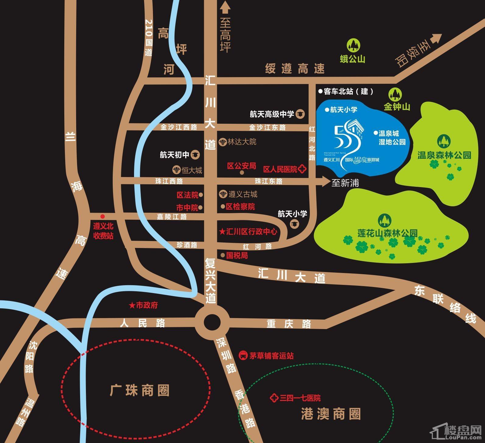 遵义汇川国际温泉旅游城位置图