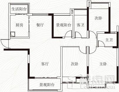 天御江畔在售6座01单元141方户型