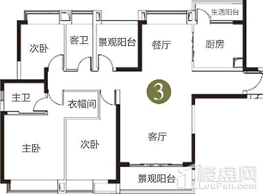 天御江畔在售6座03单元142方户型