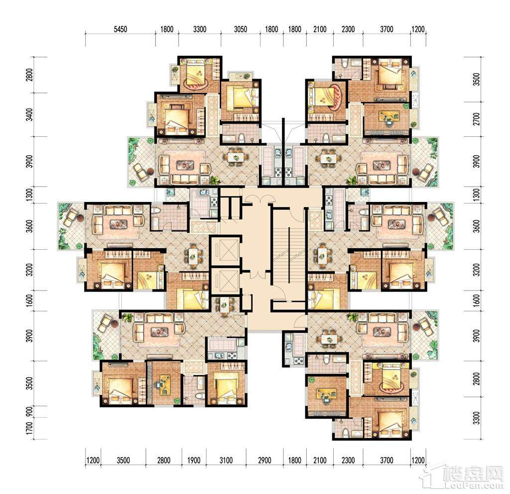 4号楼标准层总图