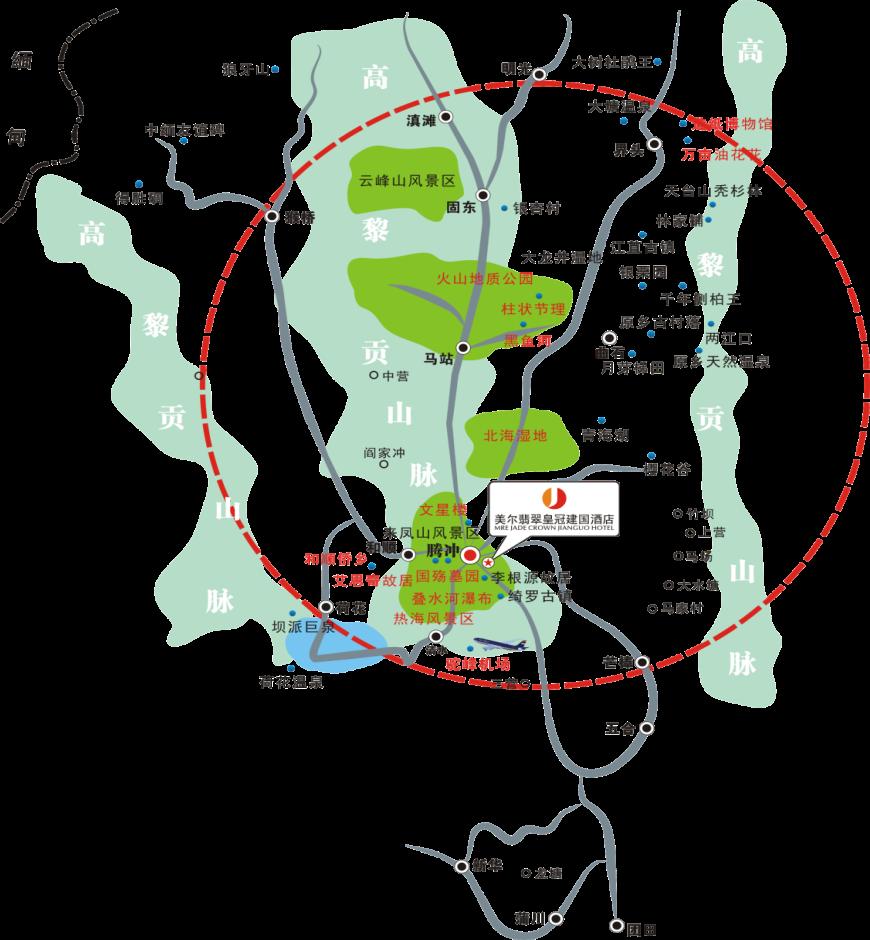 腾冲美尔翡翠皇冠建国酒店位置图