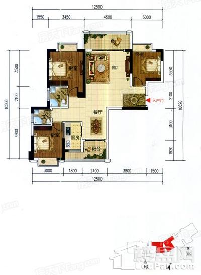 D户型三房124.35