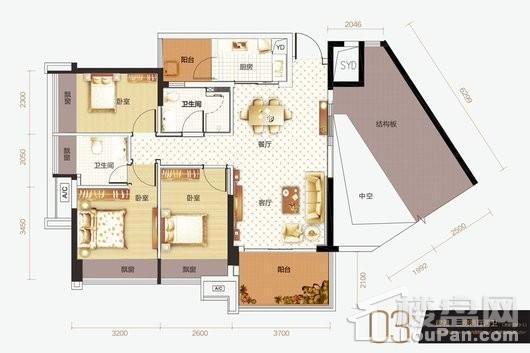 恒俪湾03户型 3室2厅2卫1厨