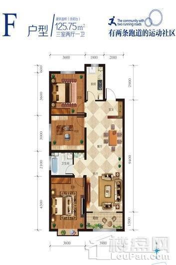 舜和慢城F户型 3室2厅1卫1厨