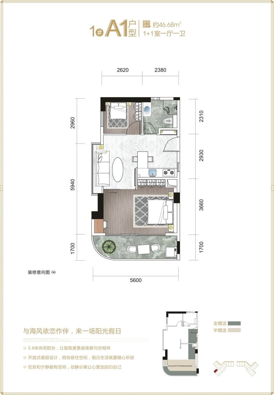 1#A1户型 1+1房一厅一卫 46.68㎡