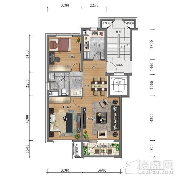 中旅万科城78平户型 2室2厅1卫1厨
