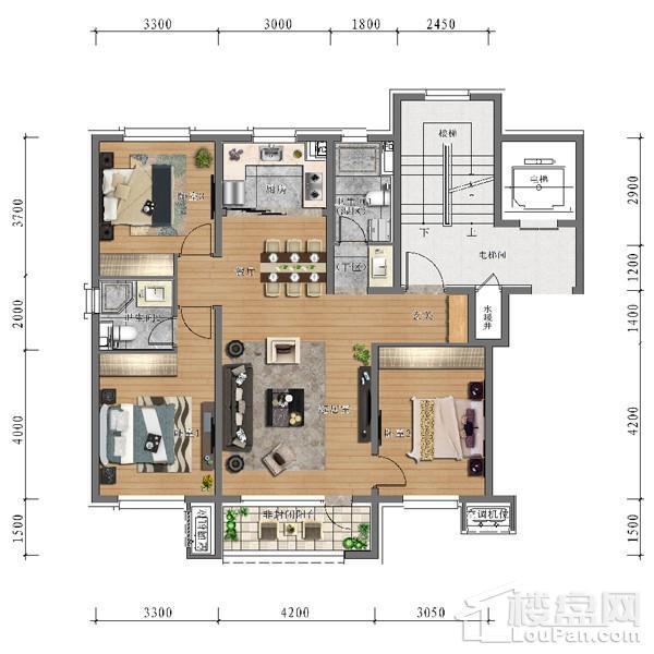 中旅万科城113平户型 3室2厅2卫1厨