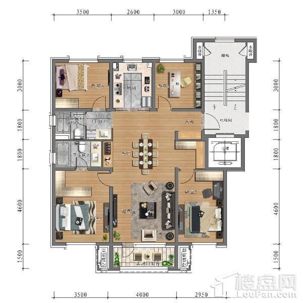中旅万科城129平户型 4室2厅2卫1厨