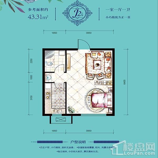 多层43平1室1厅1卫J2户型